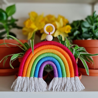 Charity: Pride Macrame Rainbow, traditional colours with wooden hanging ring