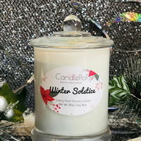 Winter Solstice festive blue soy wax candle, frankincense, musk, bergamot, VEGAN