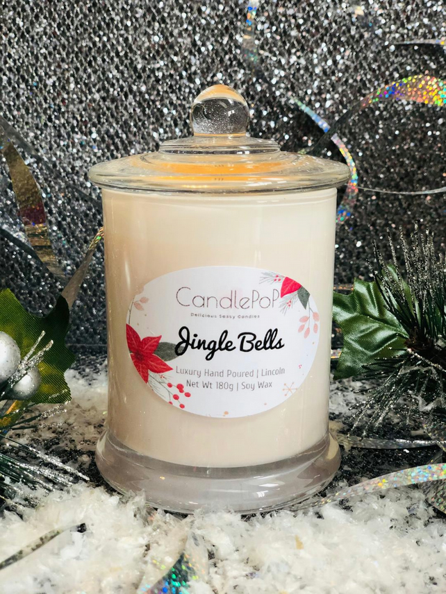Jingle Bells festive soy wax candle, mandarin, cranberry, ginger, vanilla, VEGAN