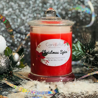 Christmas Spice festive soy wax red candle with cinnamon, nutmeg, orange, VEGAN