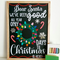 Christmas Countdown Reusable Chalkboard