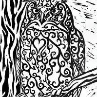 A4 Lino Print of a Long Horned Owl