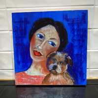 The lady loves her dog original art