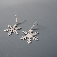 Large Asymmetric  Aluminium Snowflake Drop Earrings