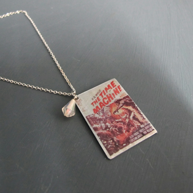 The Time Machine Aluminim Book Cover Pendant