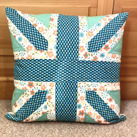 Quilted Union Jack Patchwork Zipped Cushion