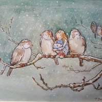 "Mounted Giclee print ""Winter sparrows"""