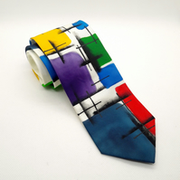 Bright Multicoloured Abstract Hand Painted Silk Tie