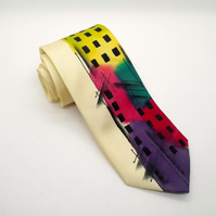 Bright Vertical Abstract Hand Painted Silk Tie