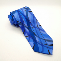 Swirled Abstract Hand Painted Silk Tie