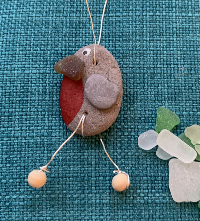 Handmade pebble and sea glass robin bauble