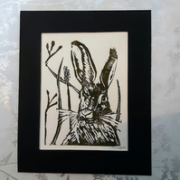 Brown Hare Linoprint