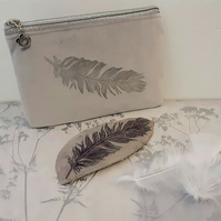 Feather Print Grey Velvet Bag