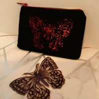 Red Butterfly Design Upcycled Black Denim Clutch