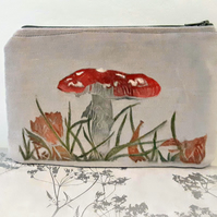 Toadstool Design Grey Velvet Clutch