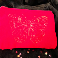 Gold Butterfly Design Red Velvet Clutch