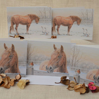 Snowy Suffolk Horses -  Two designs in a pack of five cards