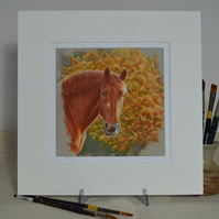 "Suffolk Punch Horse with Autumn Leaves 12""x12"" Print"