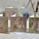 Animal Art Blank Greetings Cards Pack