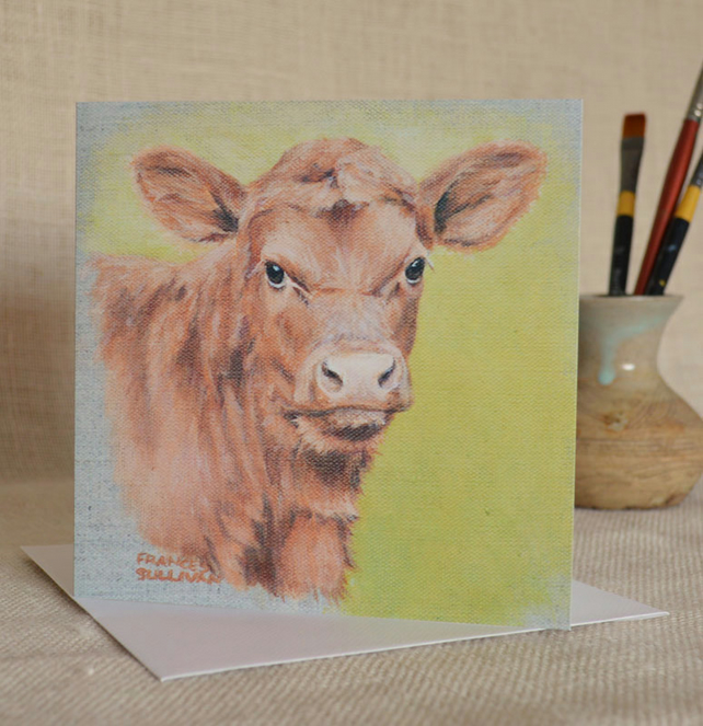 Really Cute Red Poll Calf square blank greetings card