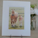 Suffolk Punch Mare and Foal Ambling print in a mount