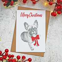 French Bulldog Handmade Christmas Card with Bow Design