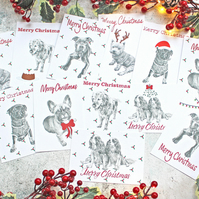 12 Handmade Dog Christmas Cards - Graphite Pencil Drawings