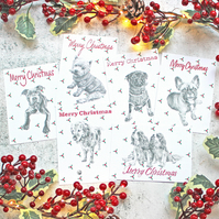 6 Handmade Dog Christmas Cards with Holly Design