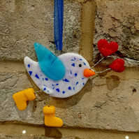 Lovebird in wellington boots carrying hearts - hanging decoration