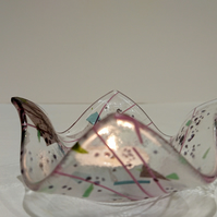 SAVE ON Delicately decorated, fused glass tealight holder - trinket dish