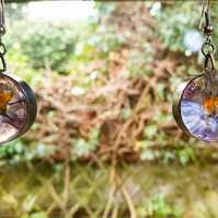 Copper and resin - preserved flower dangle earrings