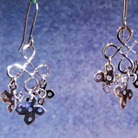 Sterling silver snowflake chandelier earrings