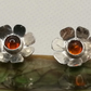 Amber and Sterling Silver daisy studs