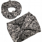 Oversized Eco-Scrunchie and Mobius Twist Head Band in Owl Print