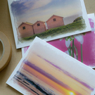 Pack of 3 pink themed greetings cards of the seaside and nature