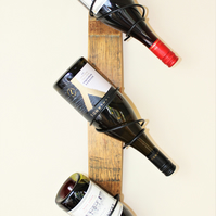 Handmade Oak Wine Barrel Stave Wine Rack - 3 bottle holder