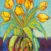 Handmade card - bright tulips in a glass vase