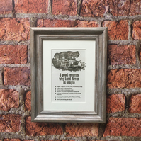 Framed Classic Car Art Introducing the Land Rover