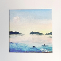 Hand Painted  Acrylic Seascape and Moonscape Greetings Card.
