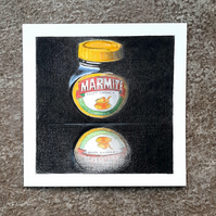 Love It Or Hate It: Original Handmade Coloured Pencil Still Life of Marmite