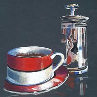 Obsession. Original Coloured Pencil Drawing of Red Coffee Cup and Cafetiere