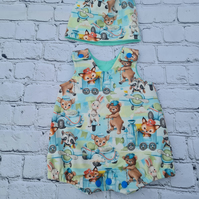 baby 0-3 month matching romper and hat set with animals