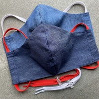 Face Mask - Lightweight Denim - comfortable shaped fit with lace tie