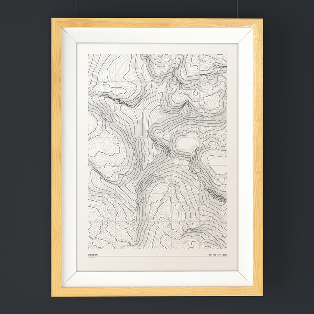 Snowdon Topographic Art Print Grid Design