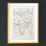 Scafell Pike Topographic Art Print Grid Design