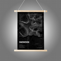 Snowdon Topographic Art Print Black Summit Design