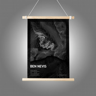 Ben Nevis Topographic Art Print Black Summit Design