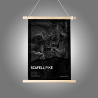 Scafell Pike Topographic Art Print Black Summit Design