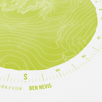 Ben Nevis Topographic Art Print Compass Design