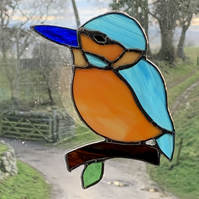 Stained Glass Kingfisher Suncatcher Lightcatcher Gift